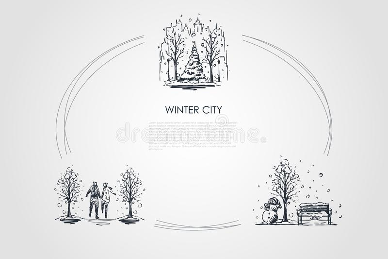 Winter city - urban landscapes under snowfall and people walking in winter park vector concept set royalty free illustration