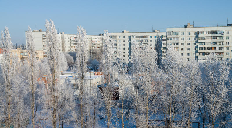 Winter cityscape. Sleeping district of the city in winter stock images