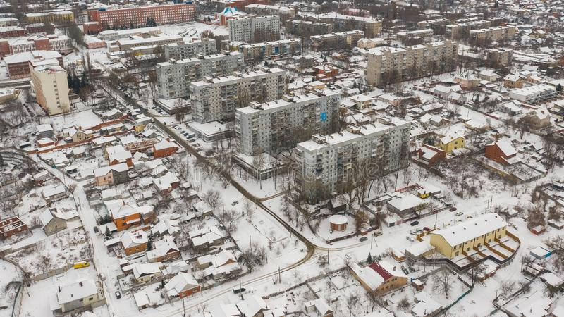 Winter cityscape. Dnepr, Dnepropetrovsk, Dnipropetrovsk. Ukraine. Birds eye view from drone on winter cityscape. Dnepr, Dnepropetrovsk, Dnipropetrovsk. Ukraine royalty free stock photo