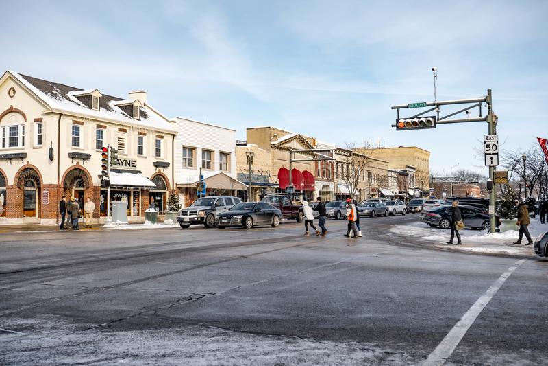 Winter cityscape of downtown of Lake Geneva , WI , USA 01/27/2019 stock photos