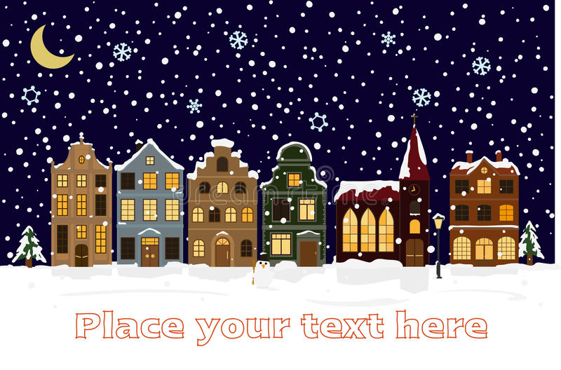Winter Cityscape Vector Illustration with space for text stock illustration