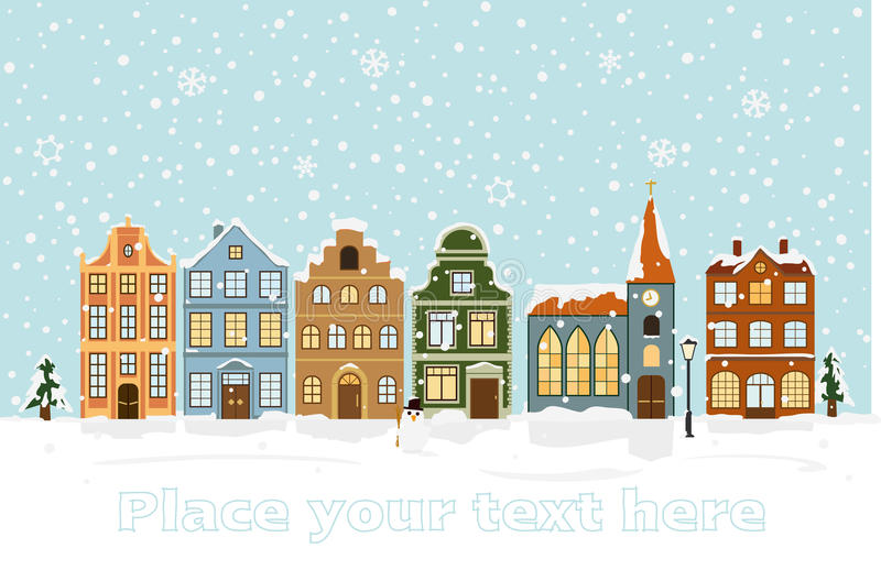 Winter Cityscape Vector Illustration with space for text. Snow-covered townhouses and church on main street royalty free illustration