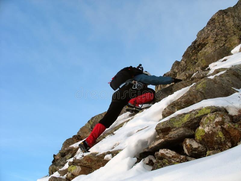 Winter climbing royalty free stock photography
