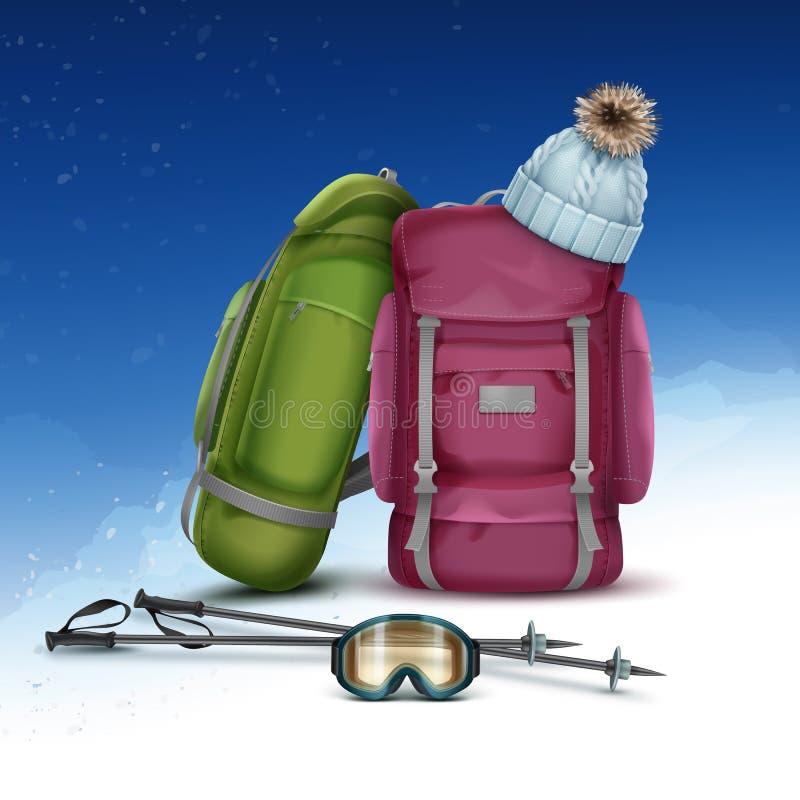 Winter climbing packs vector illustration