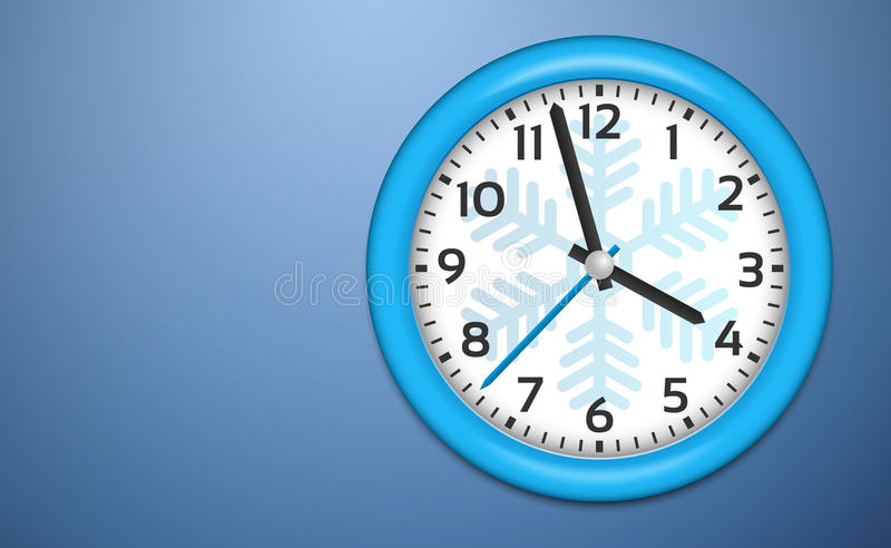 Download Winter Clocks On Cold Blue Wall Stock Illustration - Image: 27447722