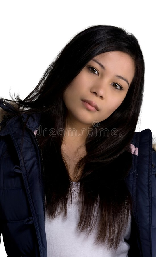Winter clothes. A model in a winter jacket royalty free stock photography
