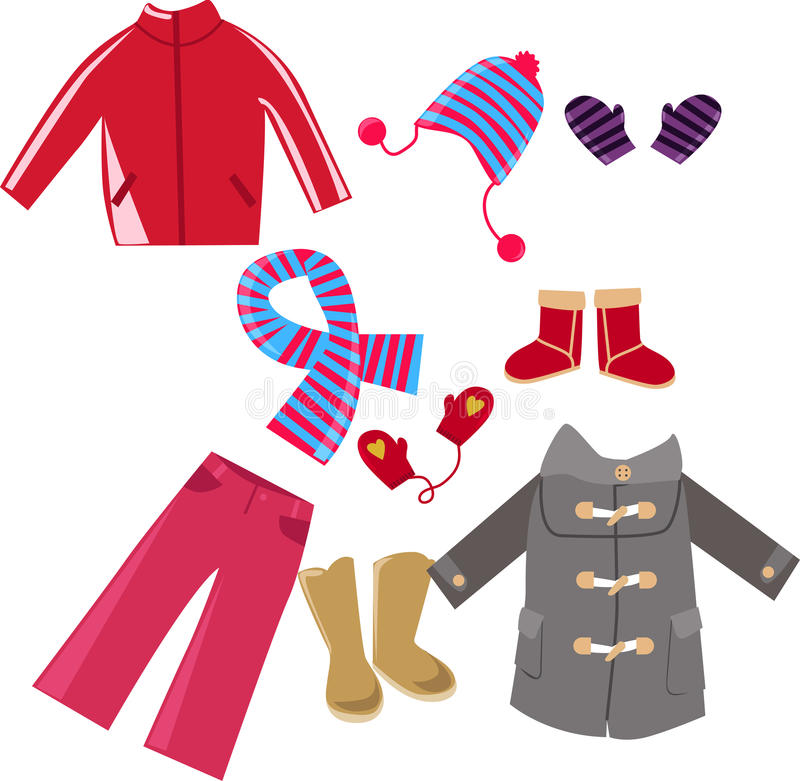Winter clothes collection stock illustration