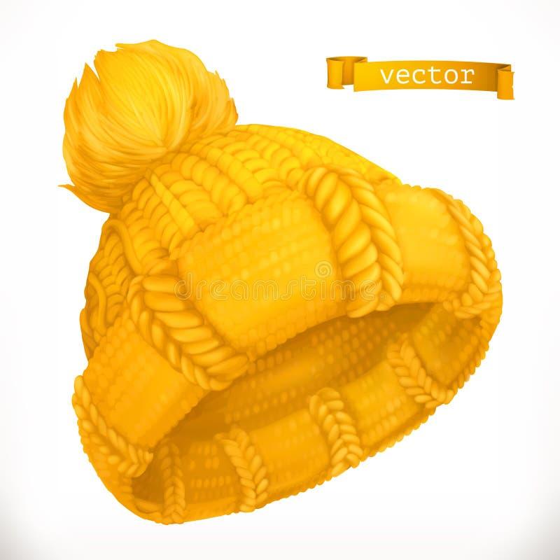 Winter clothes. Knitted cap, 3d vector icon stock photos