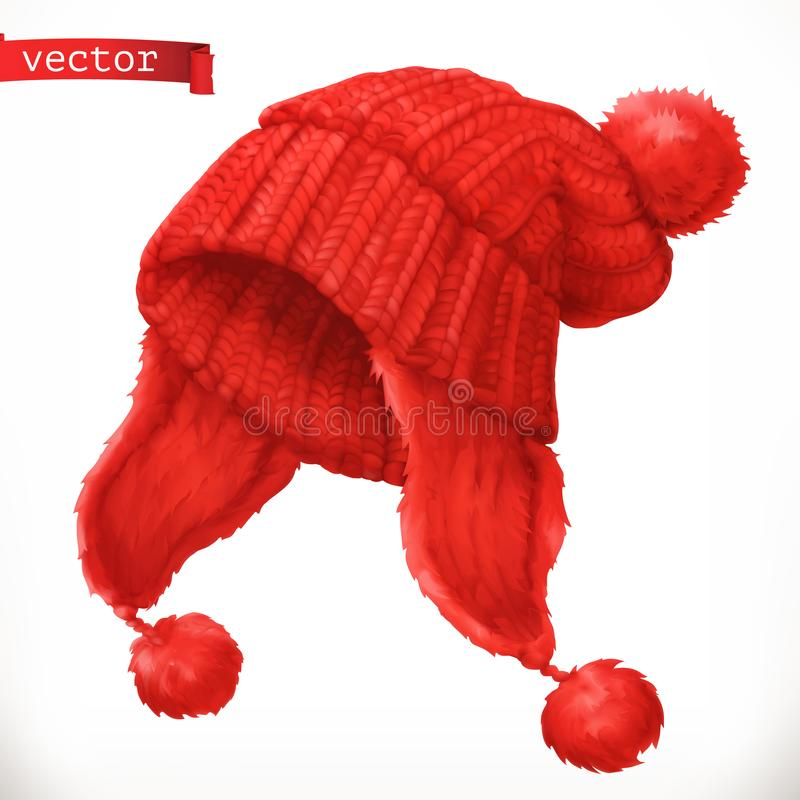 Winter clothes. Knitted cap 3d vector icon royalty free stock image