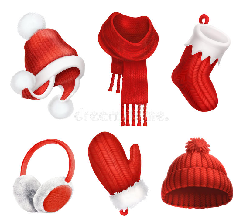Winter clothes. Knitted hat. Christmas sock. Scarf. Mitten. Earmuffs. Vector icon. Winter clothes. Knitted cap. Christmas sock. Scarf. Mitten. Earmuffs. 3d royalty free illustration
