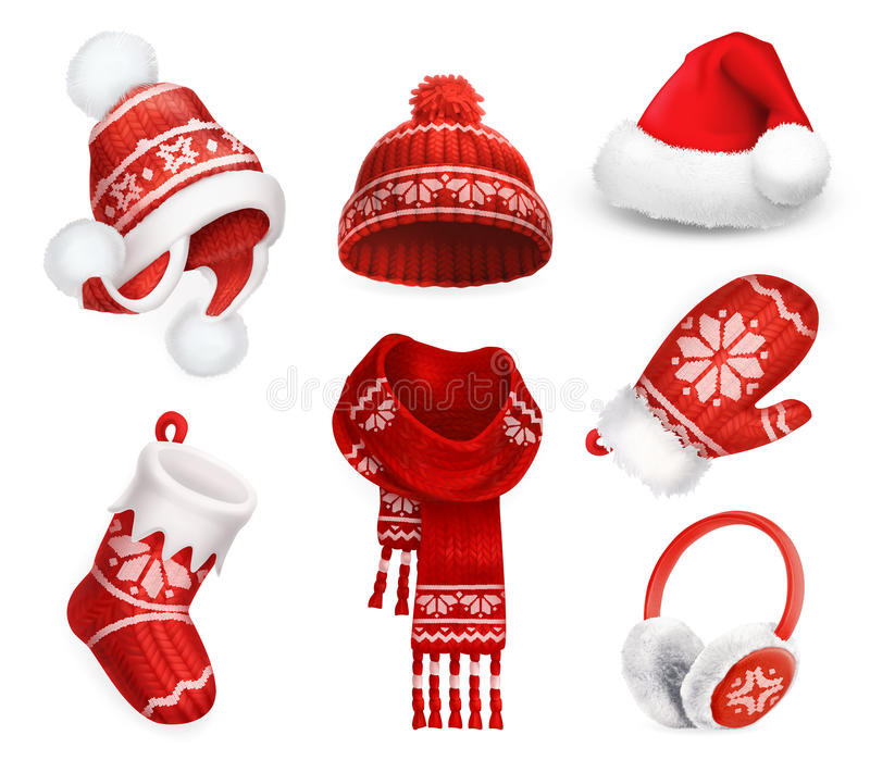 Winter clothes. Santa stocking cap. Knitted hat. Christmas sock. Scarf. Mitten. Earmuffs. Vector icon vector illustration