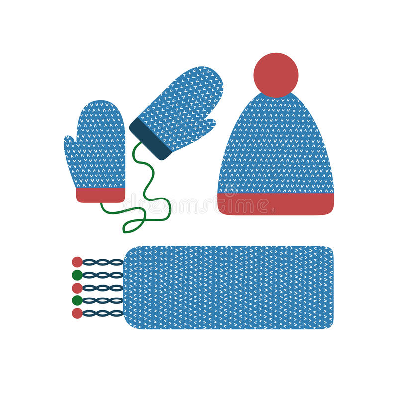 Winter clothes set. Warm knitted clothing, accessories. Winter mittens, scarf, cap, hat, beanie. Cold weather cloth vector illustration