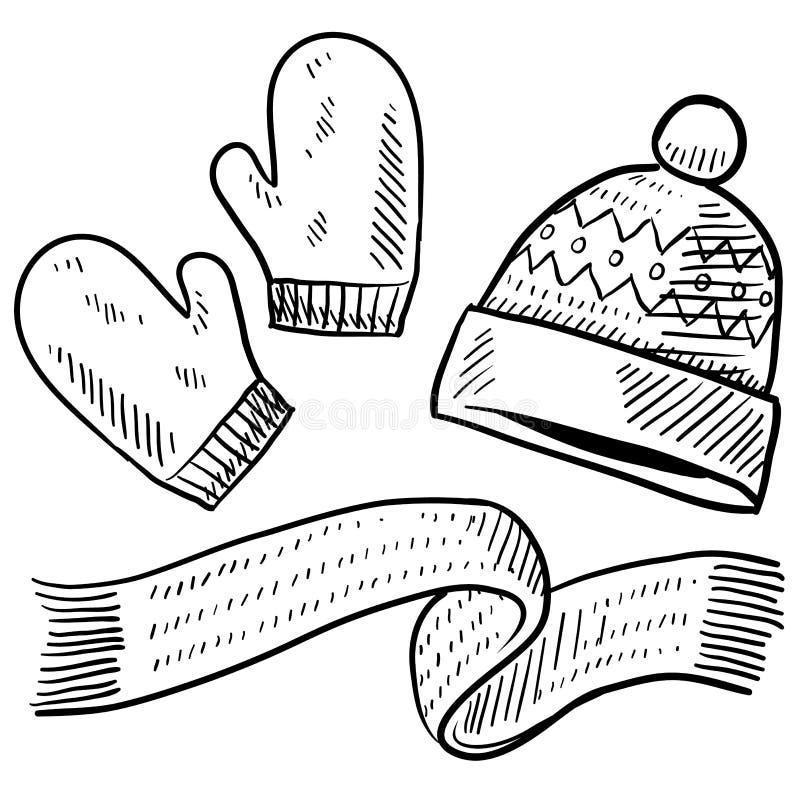 Winter clothing sketch vector illustration