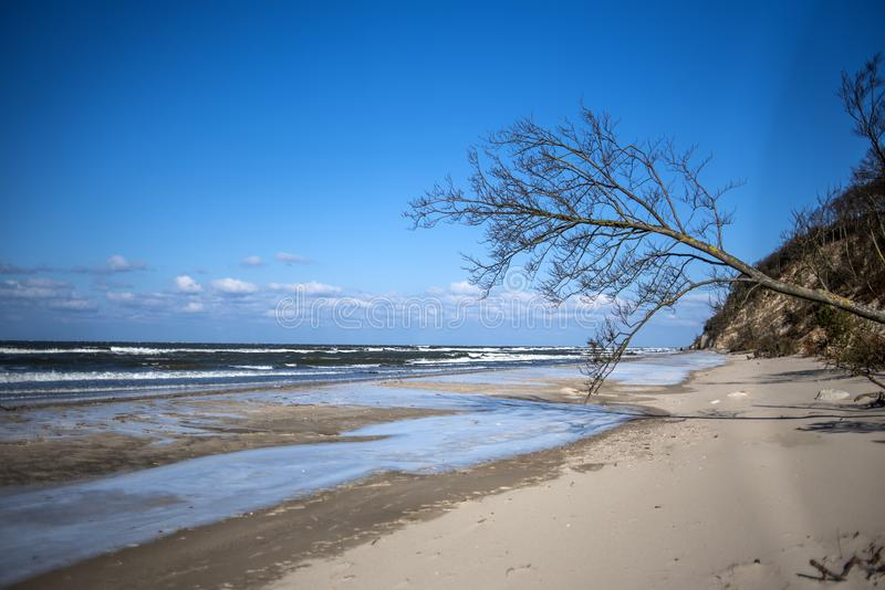 Winter coastal landscape at the Baltic Sea in Poland. Winter coastal landscape at the Baltic Sea in Poland stock photography