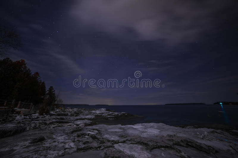 Winter coastline landscape at night from Tobermory royalty free stock photography