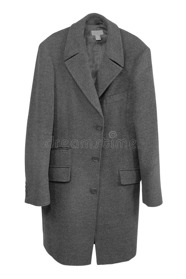 Winter coat. Wool winter coat isolated on white royalty free stock photo