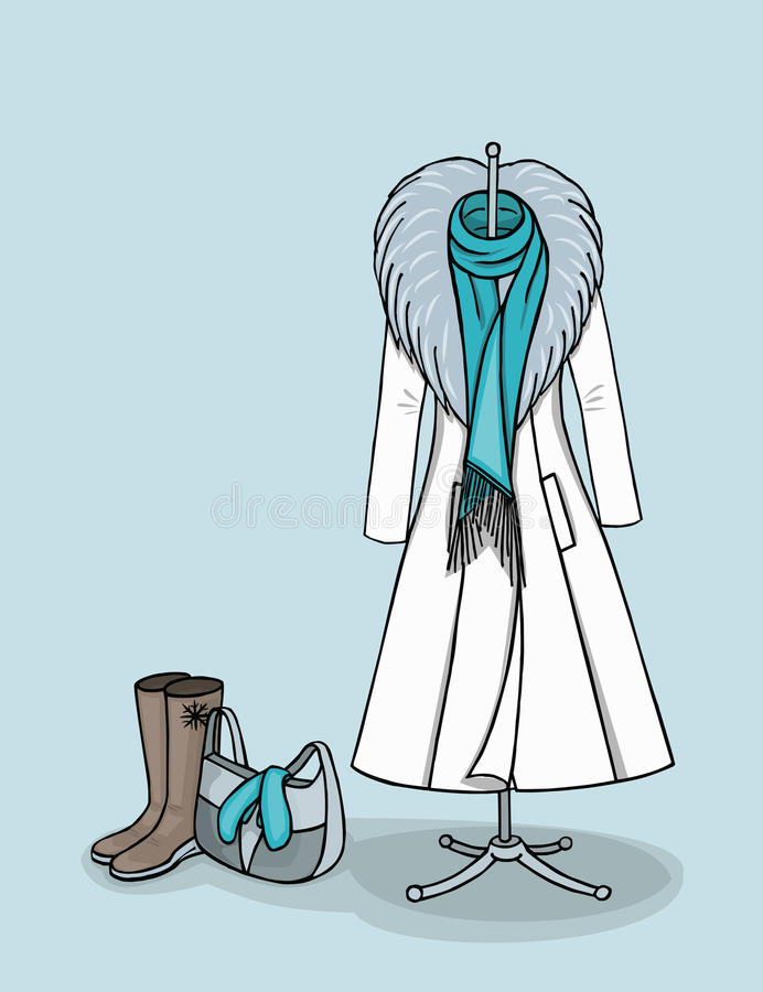 Winter coat and accessories stock image