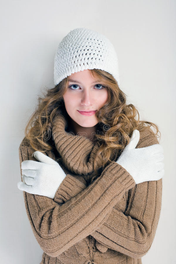 Download Winter cold is coming. stock photo. Image of gloves, cheerful - 21417602