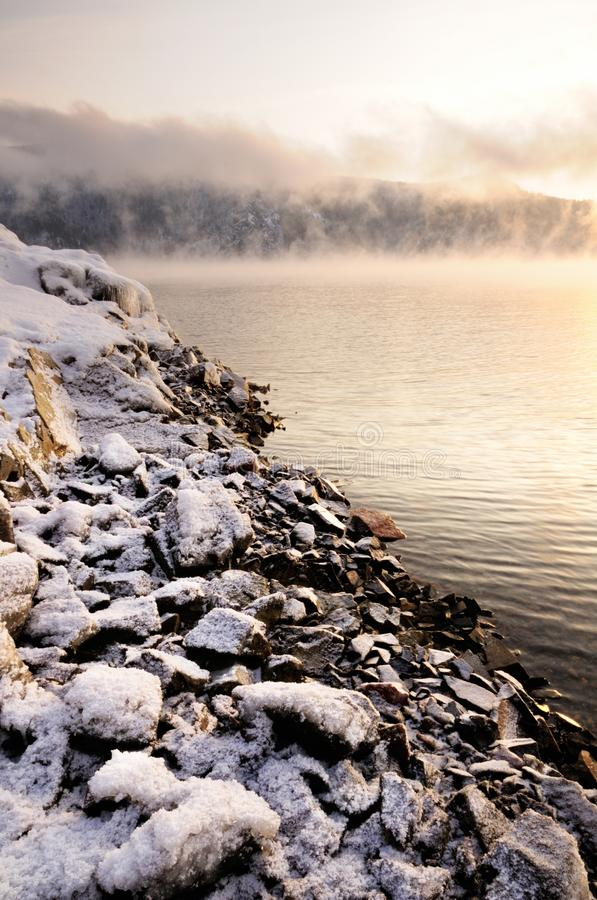 Free Winter Cold Foggy Dawn On The Yenisei River Royalty Free Stock Photo - 133663145