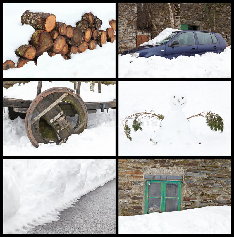 Download Winter Collage stock image. Image of season, snow, wooden - 29481121
