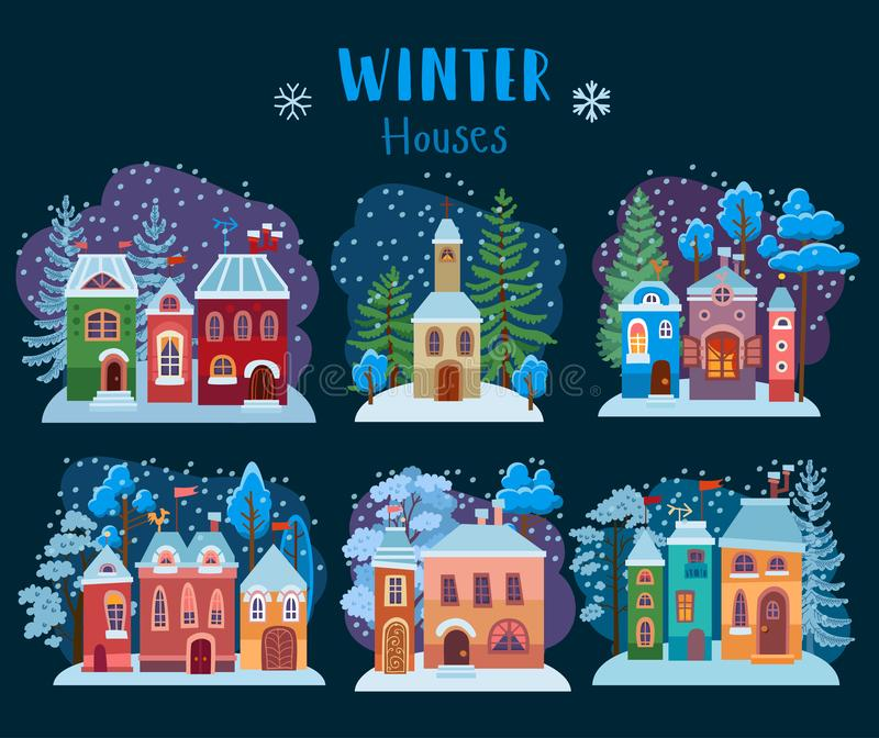 Winter collection of christmas houses. Cozy snow royalty free illustration