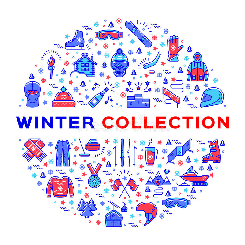Winter collection of sportswear, fashion clothing and equipment, line icons. Winter collection of sportswear, fashion clothing and sports equipment. Collage of vector illustration