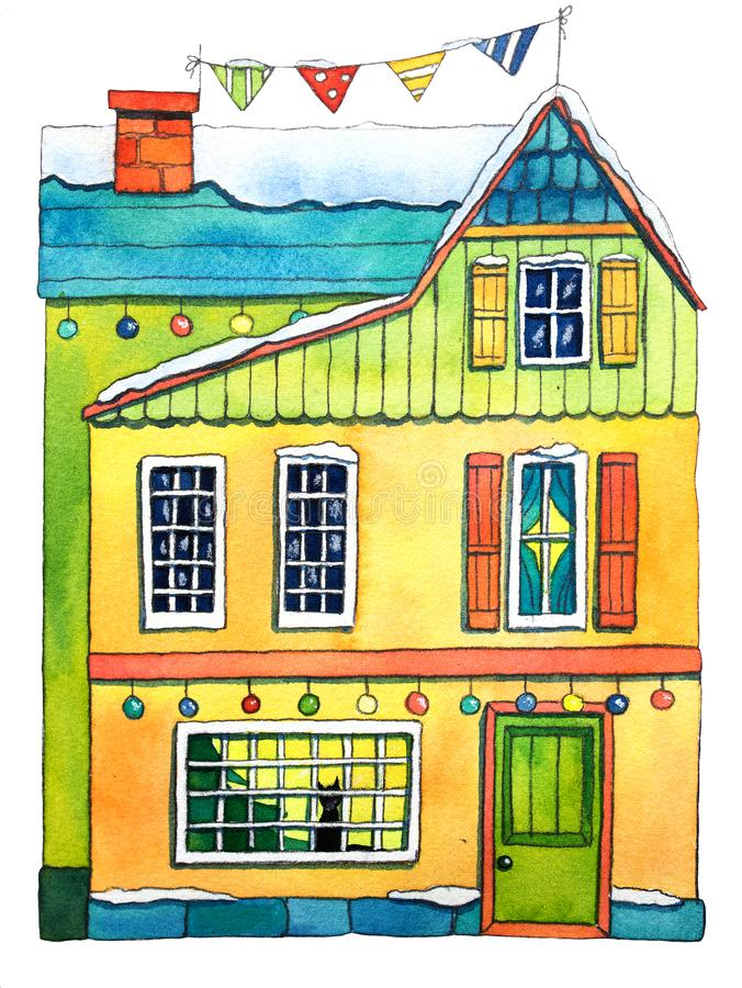 Watercolor Winter House. Hand drawn watercolor illustration. stock illustration