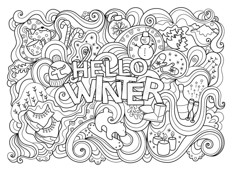 Winter coloring page stock vector. Illustration of black - 68596101