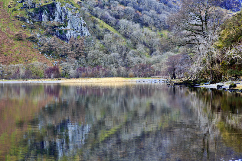 The winter colours of ILlydd foothills reflected in the peaceful waters of Llyn Gwynant. Snowdonia, Wales royalty free stock photography
