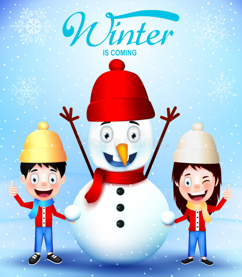Winter Is Coming with Kids Vector Characters and Snowman Greeting Card stock illustration