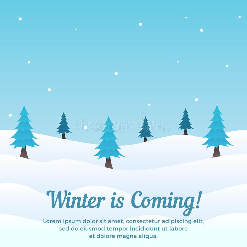 Winter is coming scene background with pine tree in snow vector illustration. Holiday greeting card, banner, poster, template. Eps 10 royalty free illustration