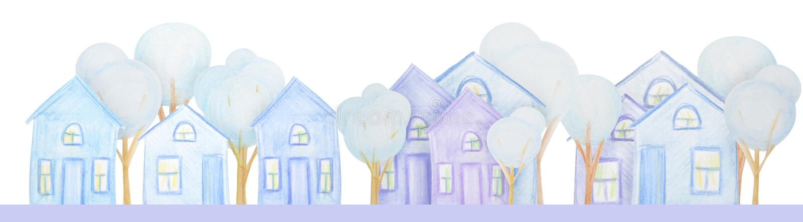 Winter composition of houses drawn with colored watercolor pencils. Winter composition of snowmen drawn with colored watercolor pencils. For the design of stock illustration