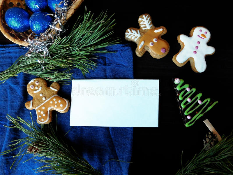 Download Winter Composition Made Of Gingerbread Cookies Stock Photo - Image: 83712412
