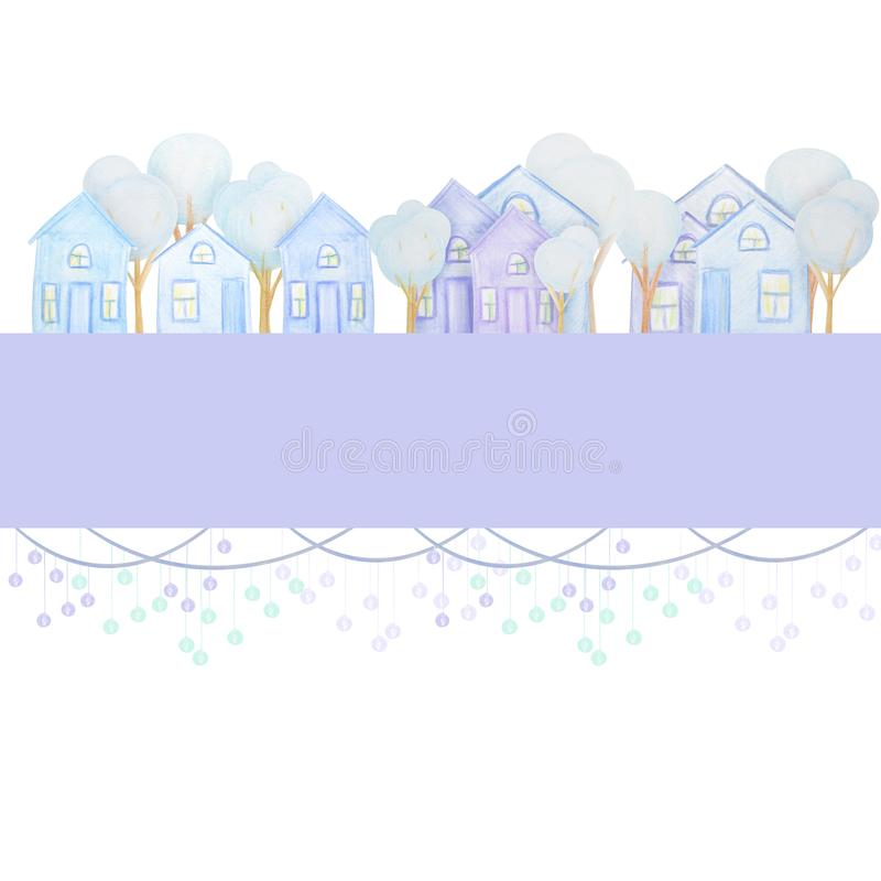 Winter composition of snowmen drawn with colored watercolor pencils stock illustration