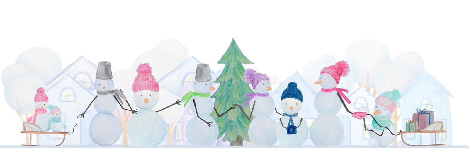 Winter composition of snowmen drawn with colored watercolor pencils. For the design of children and cute. New Year, Christmas and Holidays vector illustration