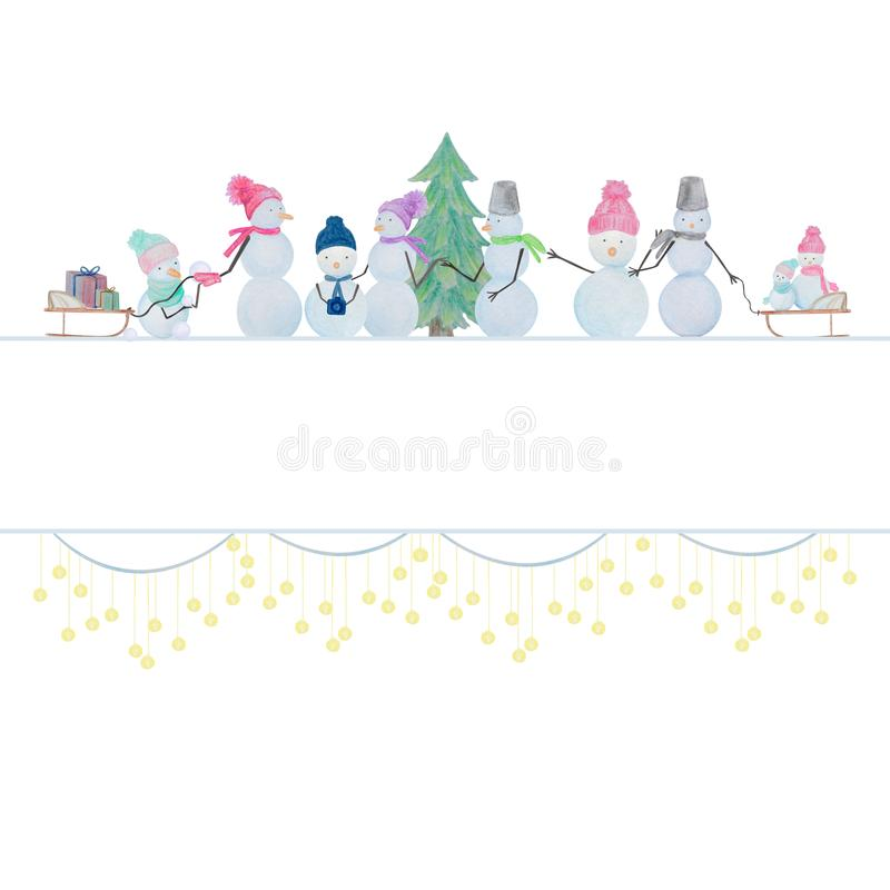 Winter composition of snowmen drawn with colored watercolor pencils. Winter set of snowmen drawn with colored watercolor pencils. For the design of children and royalty free illustration