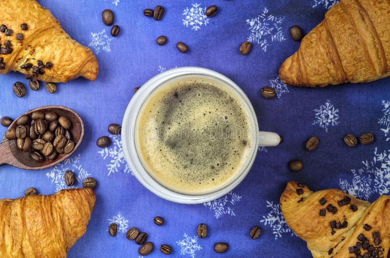 Winter concept for serving coffee with a sweet snack. royalty free stock photos