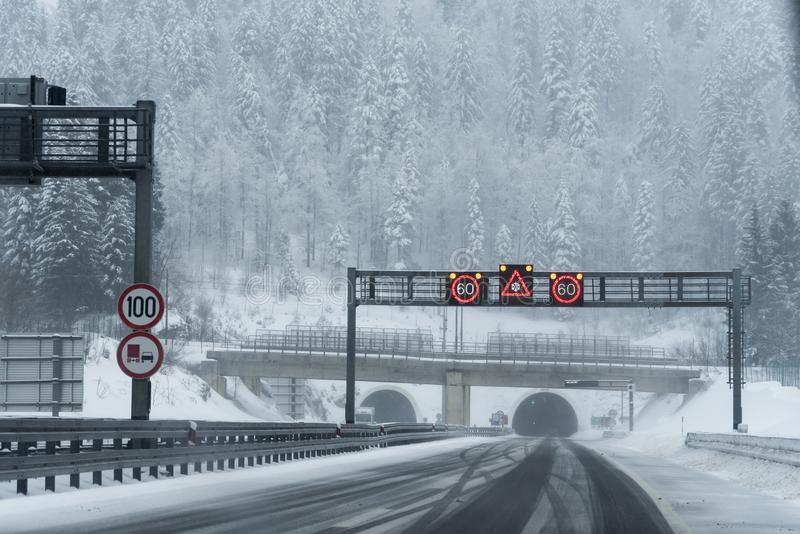 Winter conditions on the highway stock images