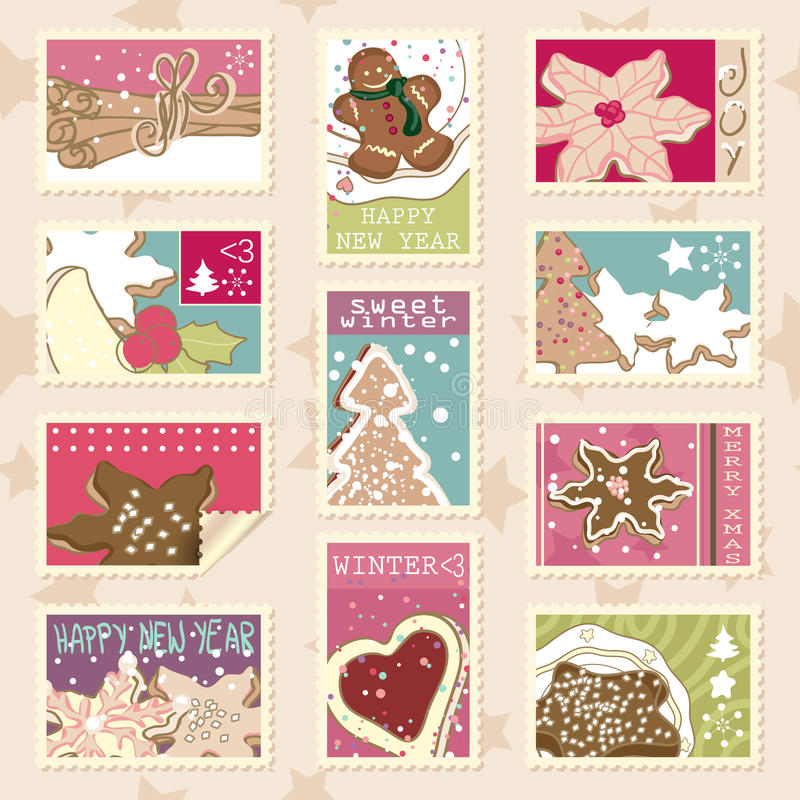 Winter cookies postage stamps