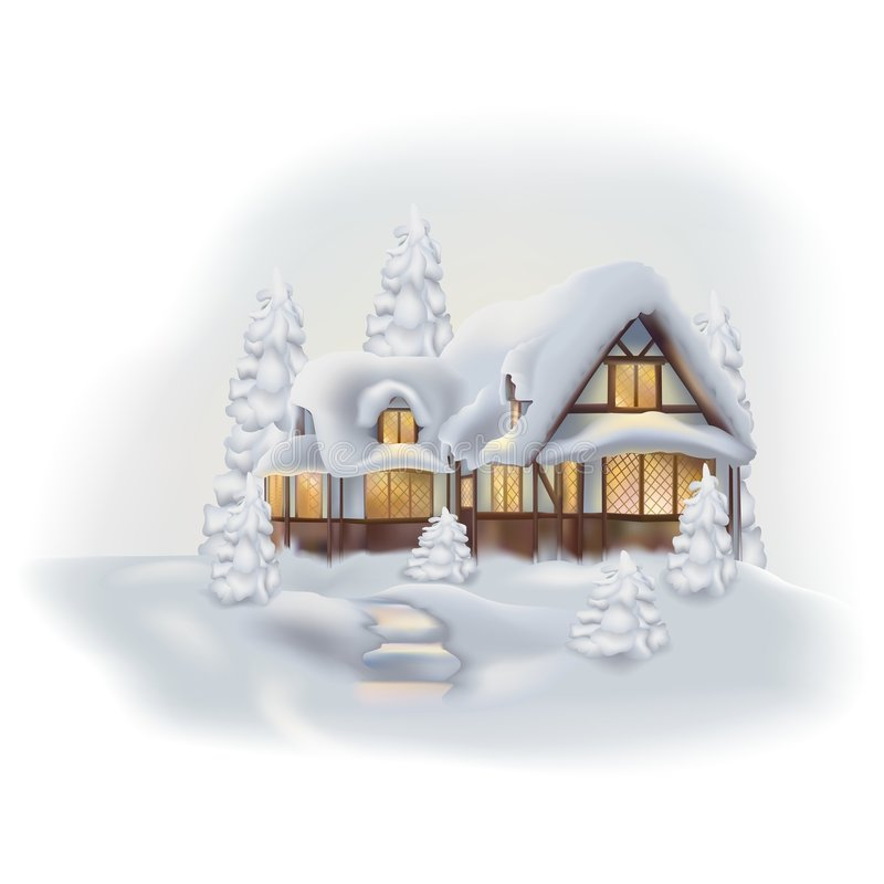Download Winter Cottage Stock Vector Image Of House Object Clipart