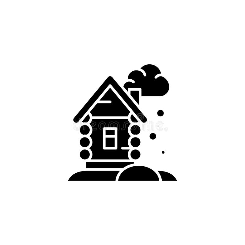 Winter cottage black icon concept. Winter cottage flat vector symbol, sign, illustration. royalty free illustration