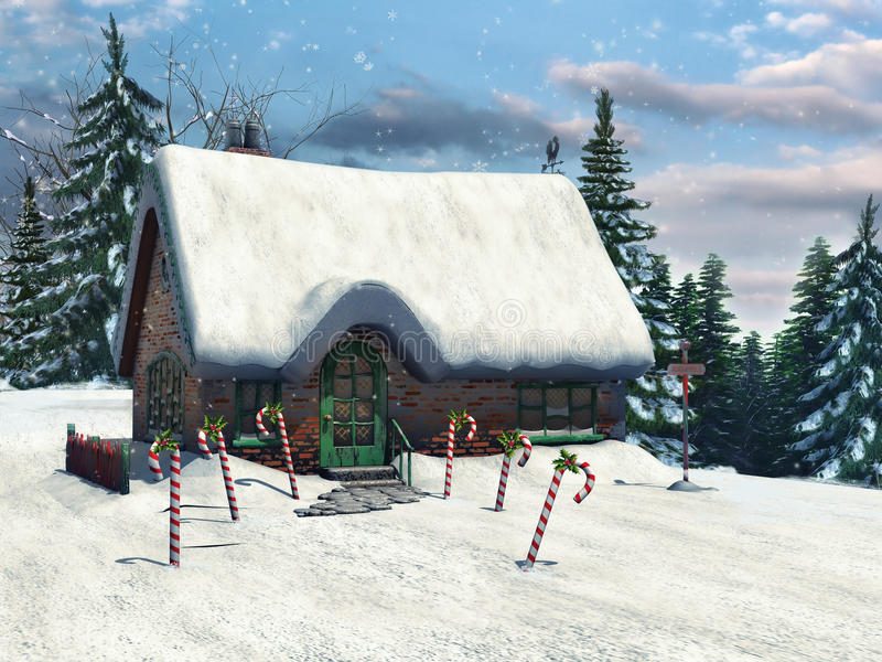 Winter cottage and candy canes vector illustration