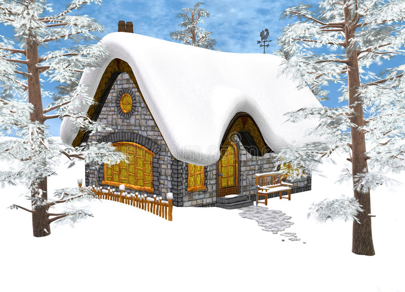 Winter Cottage. 3D digital render of a Christmas cottage under the snow in a winter forest, blue sky background stock illustration