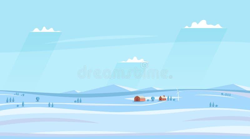 Winter counryside landscape. Horizontal rural sideview landscape. vector illustration