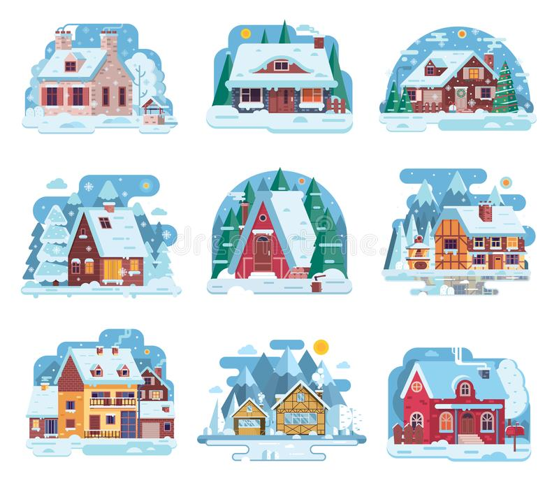 Winter Country House and Cabin Set vector illustration