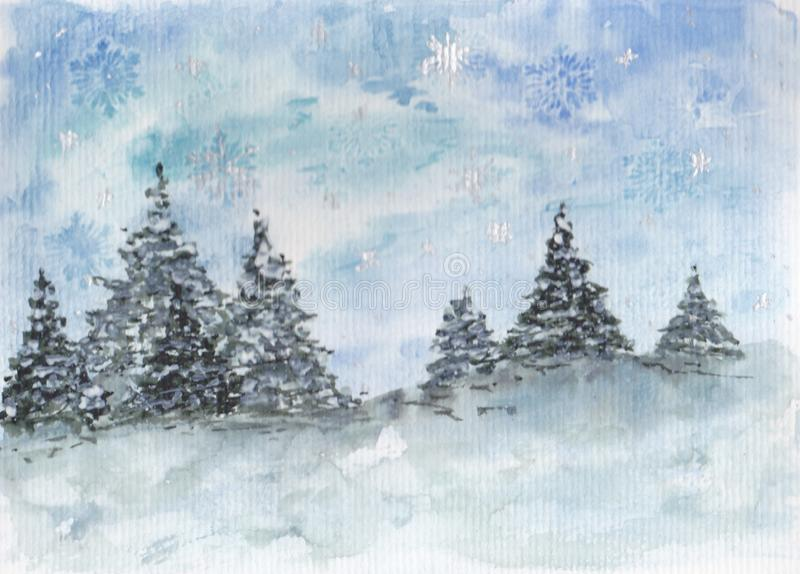 Winter country with snow and snowflakes. Tree, pinetree, christmass background, snow snowflakes royalty free illustration