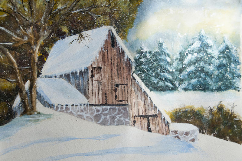 Winter countryside house royalty free illustration