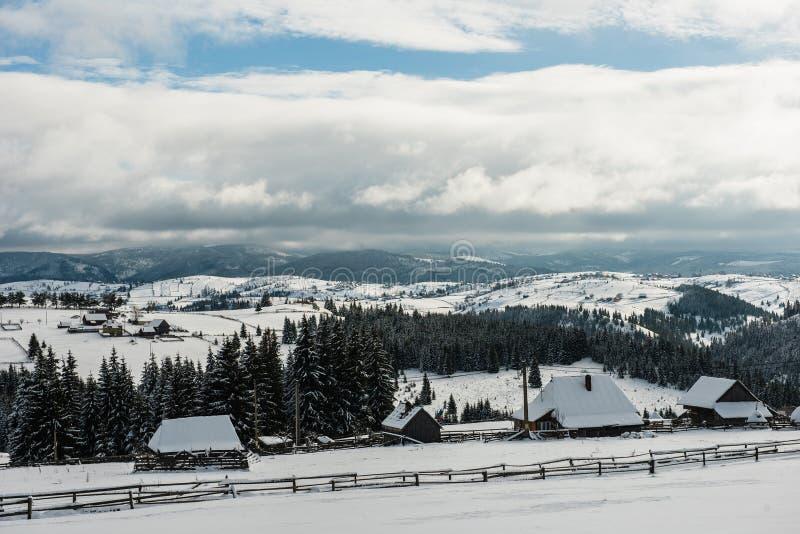 Winter countryside landscape stock photos