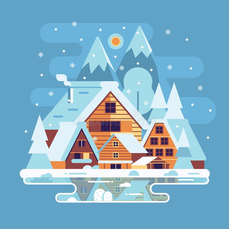 Winter Countryside Lanscape stock illustration