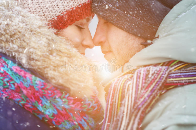 Winter couple. Happy Couple Having Fun Outdoors. Snow. Winter Vacation. Outdoor . stock photography